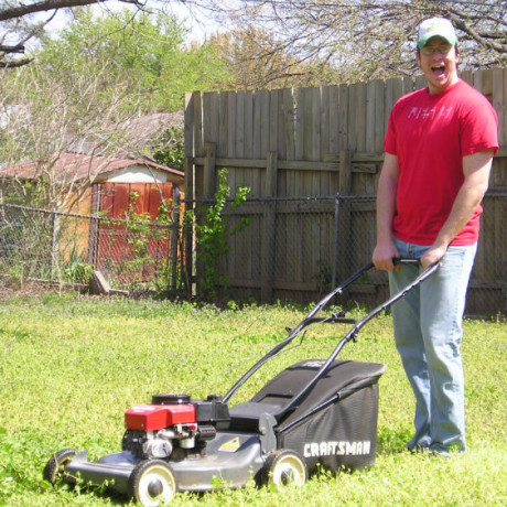 Mowing the yard at our first house