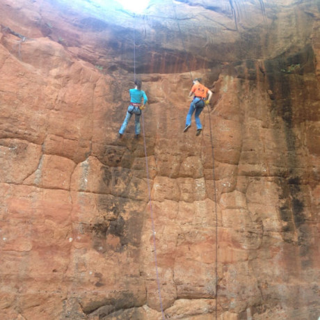Jenna, rappelling (she's the one in blue)
