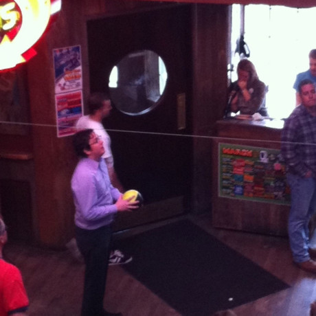 Shooting a free throw for a free meal at Eskimo Joe's. I made it!