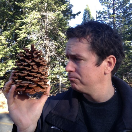 Blake found a really big pine cone at Lake Tahoe