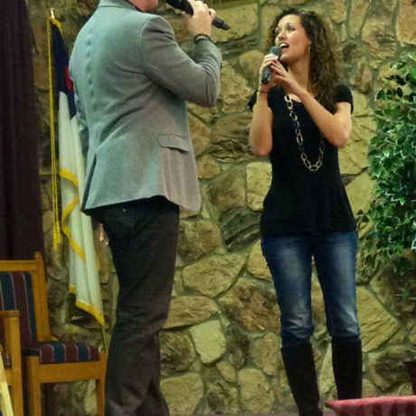 I love singing with my beautiful wife