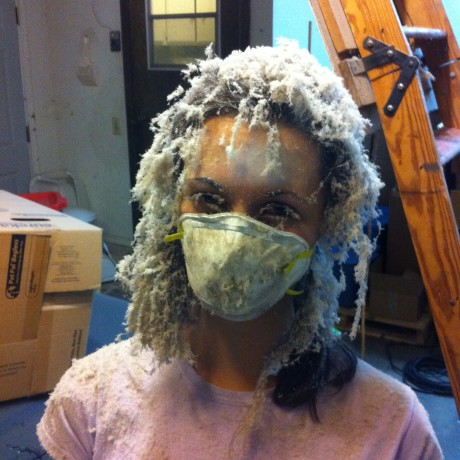 Jenna, after her encounter helping blow insulation in our attic
