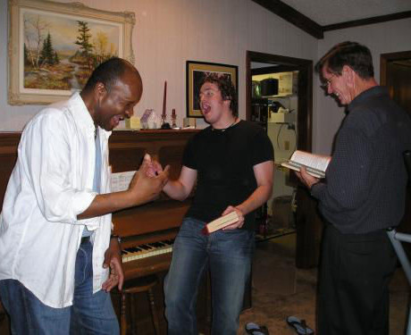 Having fun singing with my dad and friend, June