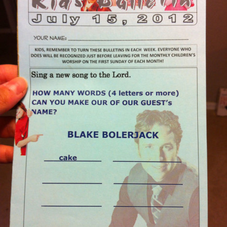 Loved this worksheet in the bulletin the Sunday I got to sing in Kirksville, MO